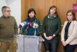 Portaveus de l'Oposició ajuntament d'Ontinyent 2016: D'esquerra a dreta, Juan Revert (Ciudadanos), Paula García (Esquerra Unida), Sílvia Ureña (Compromís) i Mercedes Pastor (Partit Popular). Foto de Víctor Vidal