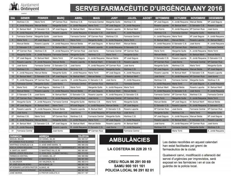 calendariFarmaciesOntinyent2016
